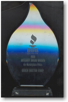 Brick Doctor Awarded 2009 Fort Worth Bbb Integrity Award