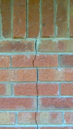 a crack in a masonry wall.
