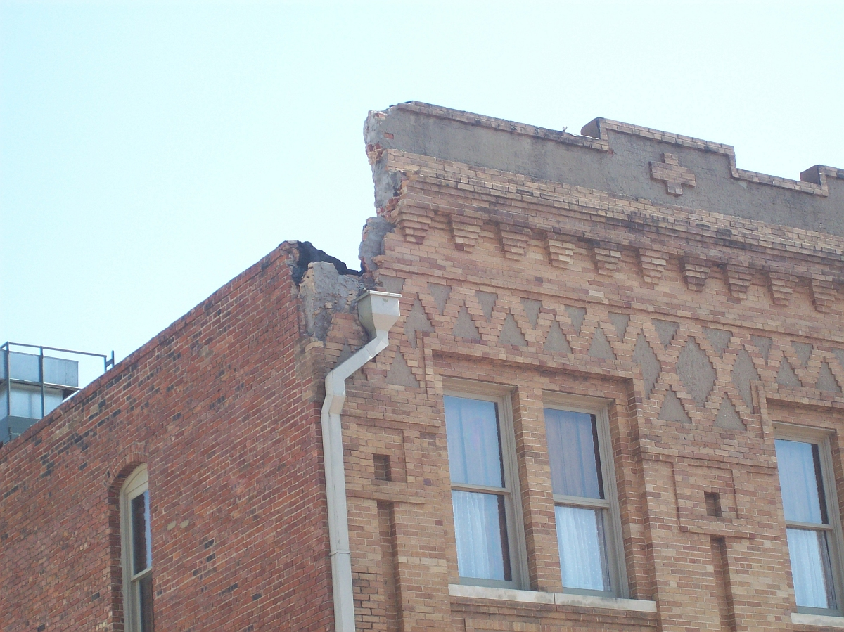 Stockyards Hotel Parapet Damage Brick Doctor