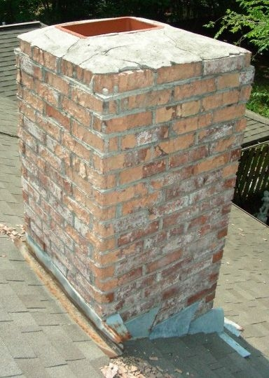 picture of Brick Chimney with no cover over flue