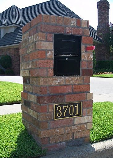 Brick mailbox with Oasis Locking Security mailbox insert.