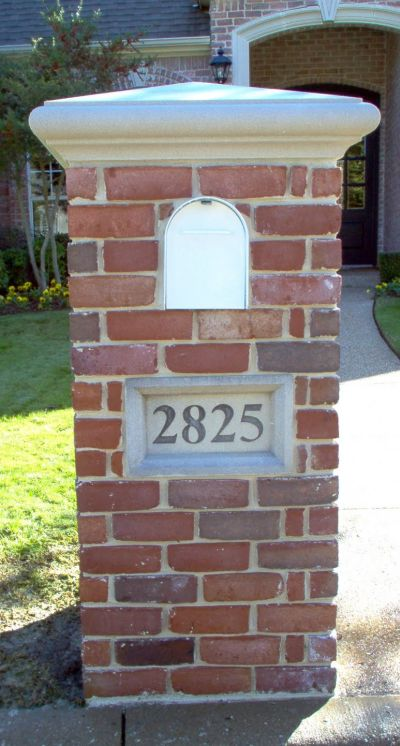 Flat Top Brick Mailbox With Stone Cap Brick Doctor