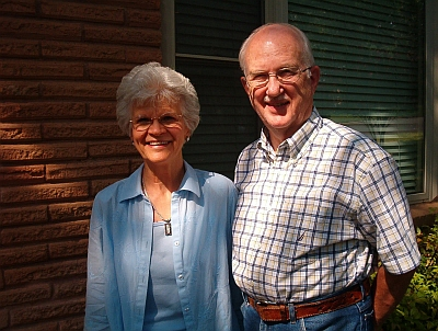 "Alvin and Ellen Jennings of Hurst recently celebrated their 50th wedding anniversary. Here, they are grinning about their special ""Parents of the Owner"" discount thy received on their brick repairs."